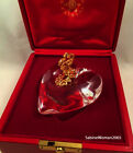 NEW in RED BOX STEUBEN glass HEART  KEY 18K GOLD JAMES HOUSTON Crystal love art