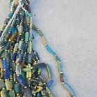 Vintage Blown Glass Beads blue or sea glass 10k gold beads