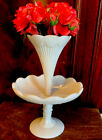 Antique French White Opaline Glass Epergne Vase Bowl Display Miniature