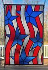 13x20 Leaded Stained Glass Panel American Flag Stars and Stripes