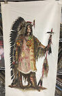 Vintage Wesco Reltex Bark Cloth Native American Indian Large Fabric Piece 23x45