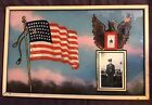 FABULOUS VINTAGE 1940S WW 2 REVERSE PAINTED FLAG STAR  CADET FRAMED DISPLAY