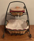 Longaberger Wrought Iron 2 Tier Stand With Holiday Baskets Liners Protectors