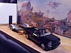 124 Scale Diecast 2 piece Set 1992 Black Chevy 454 SS Pickup  Car trailer