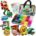 10500pcs Fuse Beads Craft Kit Perler Beads Compatible 34 Colors 6 Pegboards