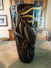 Correia Glass Black and Amber Bamboo Cameo Vase 8542 Limited Edition