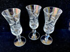 Vintage Etched Glass Cordial Sherry 3 oz Roses + Leaves Set of 3 Stemware