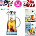BOQO Glass Water Pitcher50 Oz Carafe with LidGlass Water Jug with Particular