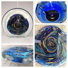 Rollin Karg Art Glass Dichroic Hand Blown Signed Disc Sculpture