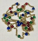 FABULOUS VINTAGE FRENCH RED BLUE  GREEN GLASS SAUTOIR NECKLACE