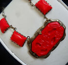 ART DECO MOLDED RED CZECH GLASS NECKLACE CENTER STONE 1 1 2 X 1
