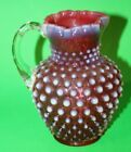 Beautiful FENTON GLASS SMALL CRANBERRY OPALESCENT HOBNAIL PITCHER 575 Tall