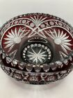 Large Bohemian Czech Crystal Cranberry Cut to Clear Bowl 10x4