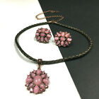Vintage 1928 Pink Crystal  Glass Cabochon Necklace  Clip Earring SET PP75E