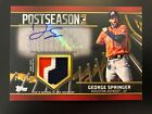 George Springer 2021 Topps Postseason Patch Auto Autograph 04 25 Astros Jersey #