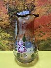 Fenton Purple Glass Vase Hand Painted Flowers