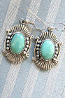 Native American Navajo Turquoise Sterling Silver Earrings by Running Bear Shop