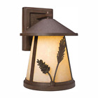 Lantern Sconce Lodge Textured Glass Steel Outdoor Weathered Spruce Wall 1 Light