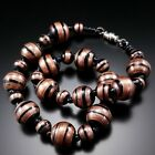 Vintage Murano Black Glass Aventurine Bead Necklace Estate Artisan Jewelry
