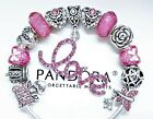 PANDORA SILVER BRACELET WITH PINK LOVE ANGEL MOM WIFE RIBBON EUROPEAN CHARMS