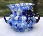 Confetti Glass Vase Hand Blown Art Glass MCM Cobalt Handles Blue White Red