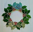 VINTAGE STAINED GLASS ART WREATH SUNCATCHER WALL HANGING Holly Berry 12