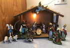 Vintage Manor House 15 Piece Nativity Set Hand Painted Resin W Stable  Box