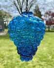 Vintage Kugel Peacock Blue Blown Glass Grape Cluster Ornament With Chain