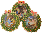 3 PACK ASSORTED NATIVITY SCENE WREATH SHAPED CHRISTMAS ORNAMENTS