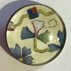 BEAUTIFUL ANTIQUE DESIGN UNDER GLASS IN METAL BUTTON FLORAL PICTORIAL