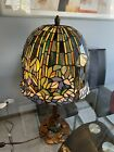 Replica Water Lily Lotus Tiffany Style Stained Glass Table Lamp 24 Inches High