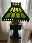 RARE CAST IRON ARTS CRAFTS GREEN SLAG GLASS WORKING OIL ELECTRIC TABLE LAMP