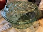 Libbey Orchard Fruit Green Glass Round 3 QT Casserole Baking Dish With Lid Pie