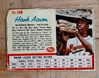 HANK AARON #149 1962 Post Cereal Baseball MILWAUKEE BRAVES