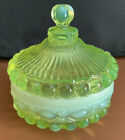 Eye Winker Covered Candy Dish Canary Yellow Vaseline Opalescent Glass MINT