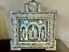 Large Vintage Christmas Nativity Mother Of Pearl Carved Abalone 1950 Museum Rare