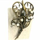 Sweet Romance Lily of the Valley Brooch Pin Art Nouveau Style Enamel Glass Pearl