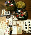 2 TINS VINTAGE  MIX BUTTONS Estate Lot GLASS Military RHINESTONE BAKELITE Cards