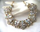 Stunning Retro Vintage Style Opaque White AB Crystal Rhinestone Glass Necklace