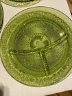 Vintage Daisy Pattern Indiana Glass Plates4 Greendivided 10 Inch