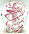 Art Glass by Gorgeous Designs Egg Shape Pink Swirl Controlled Bubble Paperweight
