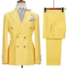 Groom Men Suits Double Breasted Yellow Tuxedo Wedding Party Groom Formal Suits