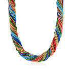 Italian Multicolored Murano Glass Bead Torsade Necklace with 18kt Gold Over