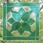 Stained Glass Victorian Green Fused Handmade Window Panel