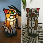 Tiffany Stained Glass Cat Table Lamp Night Light with Green Eyes 8
