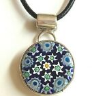 Sterling Silver Murano Glass Necklace Style Millefiori Pendant Vintage Flowers
