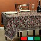 Cotton Vegetable Dye Hand Block Print Floral Tablecloth Rectangle Red Green Blue