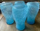 4 large Handblown art glass tumblers With Removed Pontil Blue with swirls