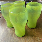 4 Large Green hand blown art glass tumblers with swirls and removed pontil