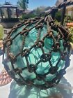 ANTIQUE VINTAGE LARGE FISHING NET GLASS FLOAT BALL JAPANESE 12 INCH MARKED